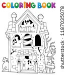 coloring book haunted house... | Shutterstock .eps vector #1187035078