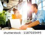 couple of work colleagues... | Shutterstock . vector #1187035495