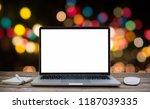 desk laptop with blank screen... | Shutterstock . vector #1187039335