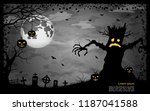 halloween scary night vector... | Shutterstock .eps vector #1187041588