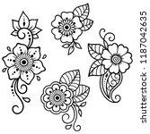 set of mehndi flower pattern... | Shutterstock .eps vector #1187042635