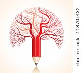 creative red pencil tree branch ... | Shutterstock .eps vector #118705432