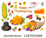 happy thanksgiving poster with... | Shutterstock .eps vector #1187055688