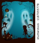 halloween ghosts and night... | Shutterstock .eps vector #1187055778