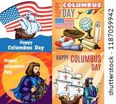 columbus day banner set.... | Shutterstock .eps vector #1187059942