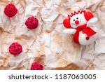 a plush snowman with a red... | Shutterstock . vector #1187063005