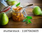 sweet fruit jam with apples and ... | Shutterstock . vector #1187063605