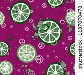 fruit pattern with lemon and... | Shutterstock .eps vector #1187070478