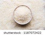 jasmine rice in bowl on wooden... | Shutterstock . vector #1187072422