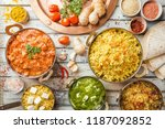 different bowls with assorted... | Shutterstock . vector #1187092852
