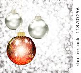 background with christmas balls. | Shutterstock . vector #118709296