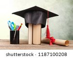 graduation cap  hat with degree ... | Shutterstock . vector #1187100208