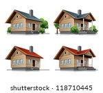 Four Detailed Wooden Cottages...