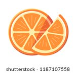 set of two cute slice of orange ... | Shutterstock .eps vector #1187107558