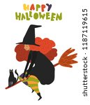 cute vector art of old witch... | Shutterstock .eps vector #1187119615