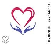 hands holding the heart. logo ... | Shutterstock .eps vector #1187121445