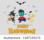 happy halloween.kid dress up... | Shutterstock .eps vector #1187133172