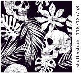 skull and leaves seamless... | Shutterstock .eps vector #1187135758