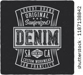 denim vintage label logo with... | Shutterstock .eps vector #1187138842