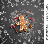christmas theme  gingerbread... | Shutterstock .eps vector #1187142298