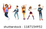 vector young women  men dancing.... | Shutterstock .eps vector #1187154952