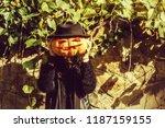 young halloween woman or girl... | Shutterstock . vector #1187159155