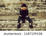 young halloween woman or girl... | Shutterstock . vector #1187159158