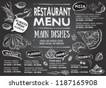 restaurant cafe menu  template... | Shutterstock .eps vector #1187165908