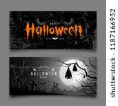 happy halloween devil eyes and... | Shutterstock .eps vector #1187166952
