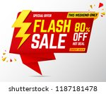 flash sale banner red.promotion ... | Shutterstock .eps vector #1187181478