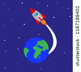 rocket launch from planet earth | Shutterstock . vector #1187188402
