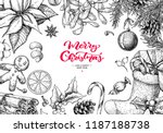 christmas holiday greeting card.... | Shutterstock .eps vector #1187188738