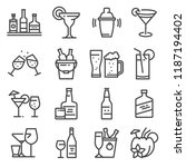 vector line alcohol icons set.... | Shutterstock .eps vector #1187194402