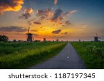 beautiful sunset above old... | Shutterstock . vector #1187197345