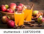 apple cider with cinnamon and... | Shutterstock . vector #1187201458