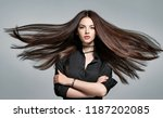 young woman with long straight... | Shutterstock . vector #1187202085