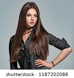 young woman with long straight... | Shutterstock . vector #1187202088