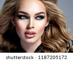 closeup face of a beautiful... | Shutterstock . vector #1187205172