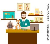 Stock vector pet shops seller at a counter in a store opposite shelves with dog flat vector illustration 1187207632