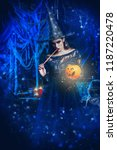 a witch in a castle. halloween. ... | Shutterstock . vector #1187220478