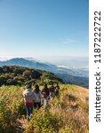 travelers trekking with scenic... | Shutterstock . vector #1187222722