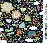cut doodle flower pattern | Shutterstock .eps vector #1187236462