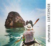 getaway travel by kayak in asia ... | Shutterstock . vector #1187239018