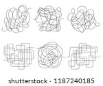 chaos lines. tangled clew set... | Shutterstock .eps vector #1187240185