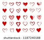 hearts drawing. vectors... | Shutterstock .eps vector #1187240188