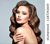 beautiful caucasian woman with... | Shutterstock . vector #1187242645