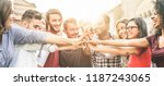 young happy people stacking... | Shutterstock . vector #1187243065