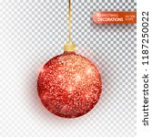 red christmas ball hanging... | Shutterstock .eps vector #1187250022