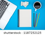 minimal workplace with laptop... | Shutterstock . vector #1187252125