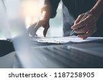businessman analyzing business... | Shutterstock . vector #1187258905